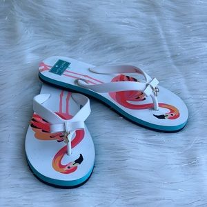 Kate Spade Flamingo Flip Flops Women's sz 7-8  3LI